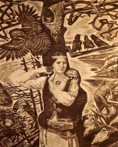 Aleksandr Novoselov: Pohjan tytär. Seepia paperille. 105,5 х 82,5
