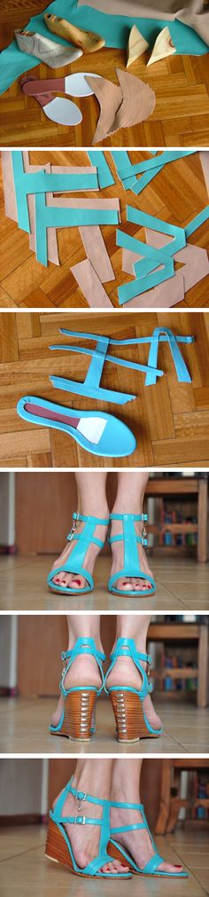 DIY How to Make turquoise sandals.  I always wanted to know.