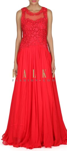 Buy this Red gown adorn in applique and gotta lace embroidery only on Kalki