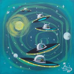 EL GATO GOMEZ PAINTING RETRO 1950'S PULP SCI-FI FLYING SAUCER OUTER SPACE ROBOTS #Modernism