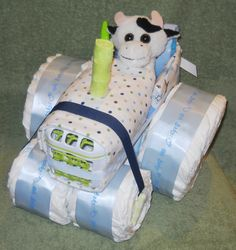 Unique Farm Tractor Diaper Cake with Cow for by CushyCreations