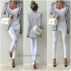 White spring outfit, ripped jeans, stripes, striped blazer, black and white blazer, white bag, white shirt