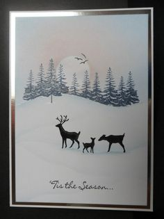 Winter Deer by: ChrisAndCat Stamped Christmas Cards, Beautiful Christmas Cards, Christmas Card Crafts, Homemade Christmas Cards, Christmas Cards To Make, Noel Christmas, Xmas Cards, Homemade Cards, Holiday Cards