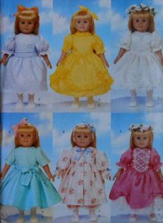 """18""""  Doll Clothes Sewing Pattern:formal gowns"""