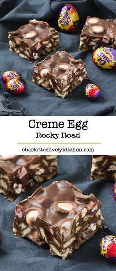 Restaurants in Miami Right Now An Easter version of super simple rocky road featuring Cadbury creme eggs - yum!An Easter version of super simple rocky road featuring Cadbury creme eggs - yum! Köstliche Desserts, Delicious Desserts, Dessert Recipes, Yummy Food, Brunch Recipes, Easy Rocky Road Recipe, Ma Baker, Creme Eggs, Creme Egg Cake
