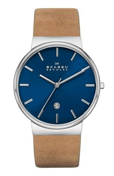 Skagen 'Ancher' Round Leather Strap Watch, 40mm available at #Nordstrom