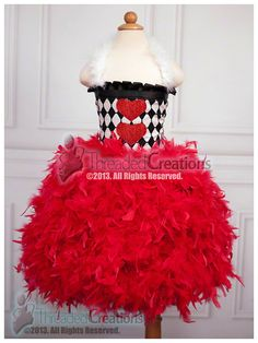 Queen of Hearts Tutu Dress - Feather Dress - Feather Tutu Dress - Queen of Hearts Dress Tutu Costumes Kids, Kids Tutu, Mardi Gras Costumes, Baby Tutu, Dress Up Costumes, Tutu Dresses, Tutu Outfits, Tulle Dress, Boo Costume