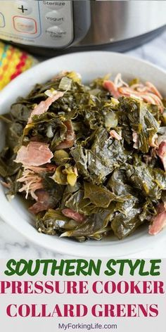 These Southern Style Pressure Cooker Collard Greens are flavorful, tender, and cooked in half the time than the stove top method. Now you can enjoy collard greens any day of the week! via Forking Life - Easy Recipes, Delicious Recipes, Quick Recipes Cooking Collard Greens, Southern Collard Greens, Crockpot Collard Greens, Pressure Cooking Recipes, Slow Cooker Recipes, Cooking Ribs, Cooking Turkey, Crockpot Meals, Cooking Brisket