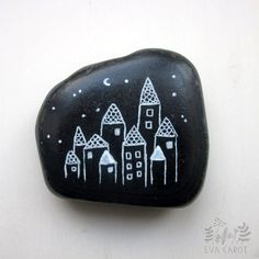 hand painted beach pebble by blau on Etsy, $8.00