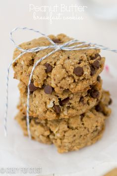 Peanut Butter Breakfast Cookies are a made with oats, whole wheat flour, and flax they are the perfect snack or breakfast recipe. Cookies for breakfast! Peanut Butter Breakfast, Breakfast Bars, Breakfast Cookies, Figs Breakfast, Mexican Breakfast, Breakfast Pastries, Breakfast Sandwiches, Brunch Recipes, Breakfast Recipes