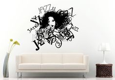 Jazz Sax Saxophone Instrument Tool Band Musical Genre Woman Girl Vocalist Microphone Band Wall Decal Vinyl Sticker Mural Room Decor L1148