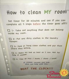 Bedroom Cleaning Checklist: Help Kids Know Expectations For This Chore How to clean my room: Beat the clock! – submitted by a reader, Adamilka, with her personalized version of the bedroom cleaning checklist for her kids! {on Stain Removal Kids And Parenting, Parenting Hacks, Clean Bedroom, Bedroom Cleaning, Kids Bedroom, Cleaning Hacks, Room Cleaning Checklist, Chore Checklist, Cleaning Lists