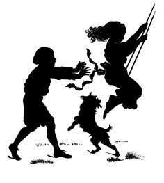 Fairy Silhouette Clip Art | Vintage Clip Art - Children with Dog - Silhouette - The Graphics Fairy