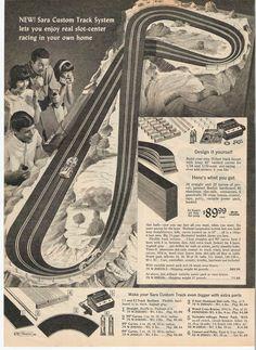 1966 Sears Christmas Catalog Page 478 Slot Car Sets, Slot Cars, Race Cars, Slot Car Racing, Slot Car Tracks, Model Car, Model Kits, Vintage Advertisements, Vintage Ads
