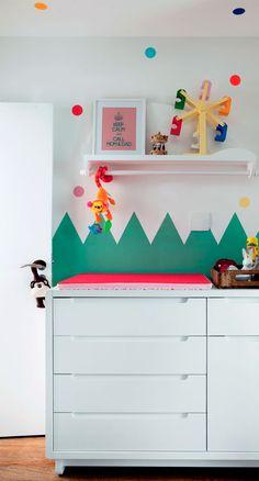 Baby Bedroom, Home Decor Bedroom, Kids Bedroom, Nursery Decor, Polka Dot Nursery, Block Wall, Nursery Inspiration, Cool Rooms, Kids Decor