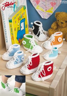 Knitting Supplies and Crocheting Yarns for Weaving, Spinning, and Dyeing Baby Hats Knitting, Knitting For Kids, Crochet For Kids, Crochet Baby, Diy Crochet, Baby Converse, Crochet Converse, Crochet Shoes, Baby Barn