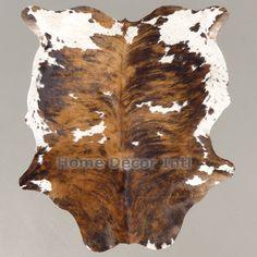 Brown Tricolor Brindle Colombian Cowhide Rug