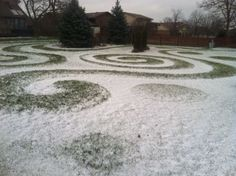 """Today's photo is from Jon Moss in Ohio. He says, """"Ornamental mowing amuses me. I call them mowticons and keep working towards a more pleasingtapestry. Typically they look best at dawn or dusk but..."""