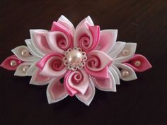 Pink&purple kanzashi flower hair clip by Flowersontop on Etsy