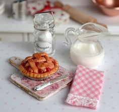RESERVED-Miniature Cherry Pie with Pink Shabby Board and Towel