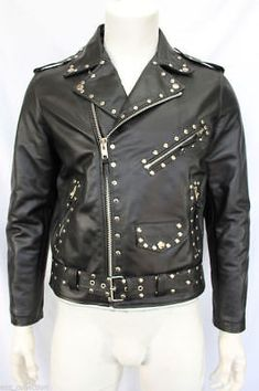 Brando Style Men's New leather studded Jacket All size Description Genuine High Quality Leather Studded on Front Inside Silk Lining and Pocket. Fine Premium Stitching Men's Leather W. Fashion Wear, Mens Fashion, Leather Fashion, Leather Varsity Jackets, Studded Leather Jacket, Western Wear For Women, Stylish Jackets, Jacket Style, Cowhide Leather