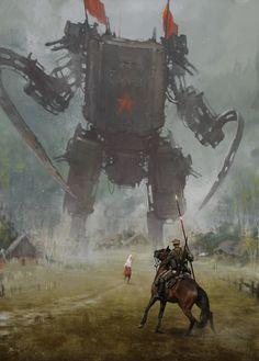 Jakub Różalski re-invents the Polish-Soviet war with giant robots - Roboter - Kunst Diesel Punk, Fantasy Kunst, Fantasy Art, Game Art, Arte Steampunk, Gothic Steampunk, Steampunk Clothing, Victorian Gothic, Steampunk Fashion