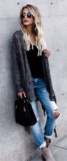 #fall #outfits Grey Cardigan + Black Top + Destroyed Jeans