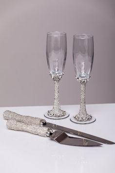 Wedding Glasses And Cake Server Set Set Of 4 Wedding Cake