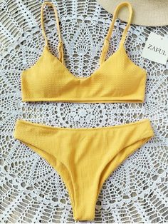 Shop for High Cut Bralette Bikini Set YELLOW: Bikinis M at ZAFUL. Only $17.49 and free shipping!
