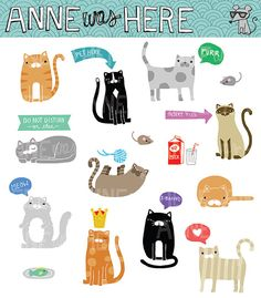 Doodle Kitties & Cats  Digital Clip Art  by AnneWasHere on Etsy
