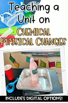 How to Teach a Unit on Chemical and Physical Changes in Upper Elementary and Middle School Science by Samson's Shoppe. I'm sharing all the chemical and physical changes activities I use to engage my 4th, 5th, and 6th grade science students and get them excited to learn about chemical and physical changes. Read the blog post to learn more about how I structure my chemical and physical changes unit and see my states of matter notes, printables, and hands-on activities!