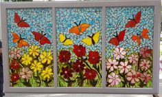 Flowers Butterflies Garden Theme Mosaic / Stained Glass Window Hanging / Reclaimed Window / Storefront Office Home Art Butterfly Mosaic, Mosaic Flowers, Stained Glass Flowers, Stained Glass Art, Stained Glass Windows, Mosaic Glass, Fused Glass, Mosaic Windows, Painted Window Panes