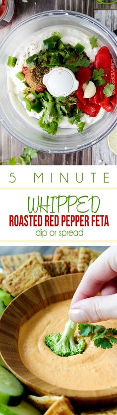 MEGA creamy Whipped Roasted Red Pepper Feta Dip or Spread is so addicting you will be dunking everything in it! The perfect party dip that everyone will LOVE and it only takes 5 minutes to whip up - literally! #dip #appetizer #roastedredpeppers #feta
