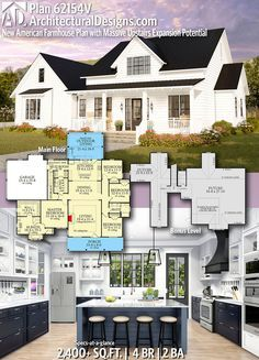 Plan New American Farmhouse Plan with Massive Upstairs Expansion Potential, . - Plan New American Farmhouse Plan with Massive Upstairs Expansion Potential, - New House Plans, Dream House Plans, Small House Plans, 2200 Sq Ft House Plans, House Design Plans, Unique House Plans, Affordable House Plans, Family House Plans, The Plan