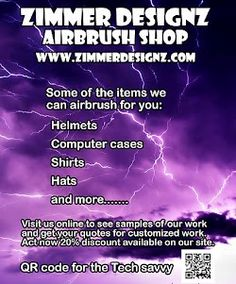 Custom Airbrush Shop located in Houston, TX http://www.ZimmerDesignZ.com Flyers for Zimmer DesignZ (5 photos)  More photos from Scott Zimmerman