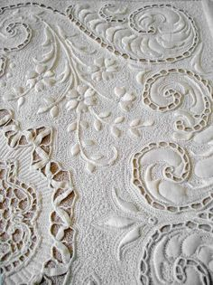 ⌖ Linen & Lace Luxuries ⌖  whitework embroidered linen cutwork tablecloth