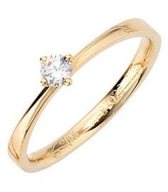 Damenring / verlobungsring in 585 Gelbgold mit 1 Diamant (Brillant 0,15ct.)
