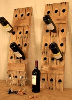 Reclaimed wood riddling wine racks - eco-friendly, rustic and unique.