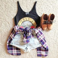 Beating the heat with this adorable #OOTD #MustHave #Denim #Flannel #Booties #Forever21