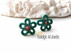 Macrame Earrings , , Macrame Flower Earrings,  Green Flower  Earrings  , Romantic  Earrings,  Earrings  for  present