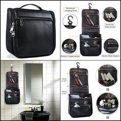 $10.23 - Hanging Toiletry Leather Travel Bag Organizer For Men Women Hygiene Kit Black #ebay #Fashion Leather Tool Pouches, Personal Organizer, Toiletry Bag, Leather Tooling, Travel Bag, Compact, Bond, Organization, Kit