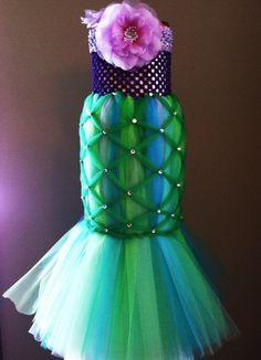 A Little Mermaid Tutu Costume Pageant Party Portrait Dress. $90.00, via Etsy.