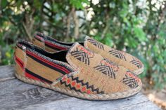 Tan Tribal Mens Loafer Shoe in Ethnic Naga by SiameseDreamDesign, $42.00