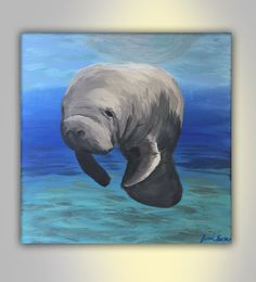Manatee Painting Canvas Original Painting with Acrylic Paint, Sea Life, Ocean, Manatee Under Water with Colors in Blue, Green and Grey 12x12