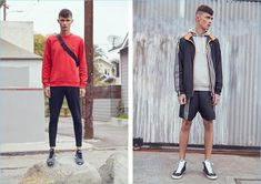 Left: Simon Kotyk wears a red Fred Perry x Raf Simons denim pocket sweatshirt $200, Puma Select x Stampd track pants $120, Athletic Propulsion Labs: APL techloom pro sneakers $140, and Herschel Supply Co. fanny pack $45. Right: Simon sports an Adidas x Kolor track jacket $295 and shorts $175. The model also wears a Reigning Champ core pullover hoodie $130 and Golden Goose slide sneakers $495.