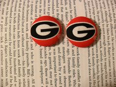 College - 1 1/8 Fabric Covered Button Earrings on Etsy, $6.00