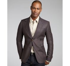 Gucci warm brown wool-cashmere blend two button jacket