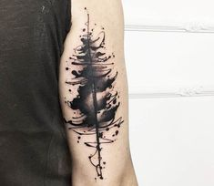 Abstract tree tattoo by Marco Pepe Tree Line Tattoo, Tree Sleeve Tattoo, Tree Tattoo Men, Line Art Tattoos, Sleeve Tattoos, Tattoo Drawings, Rebellen Tattoo, Pine Tattoo, Geometric Tattoo Tree