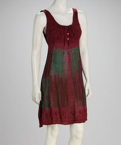 Take a look at this Burgundy Tie-Dye Empire-Waist Dress by Raya Sun on #zulily today!