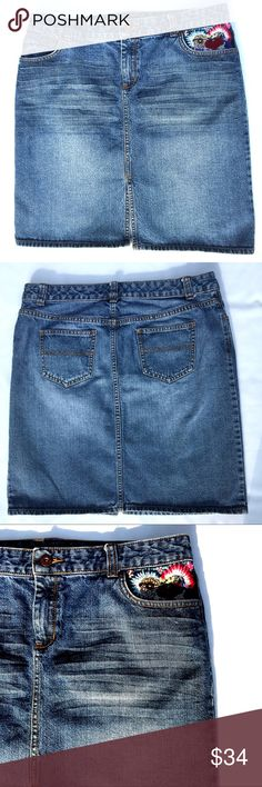 """Tommy Hilfiger Vintage Embroidered Denim Skirt Vintage Tommy but totally on trend with the Embroidered hip pocket detail!! Classic 5 pocket skirt. Whiskering and distressing of fabric at hips. Amazing Embroidery on left hip with """"Tommy"""" sewn in to Floral Embroidery.  Signature Tommy button. Appox measurements: waist 17"""". Length 19.5. Hips 19.5"""". Label reads size 10. Tommy Hilfiger Skirts Mini"""